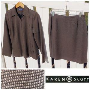Karen Scott Jacket Skirt Set Chocolate Tan Size 6P